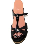 MEPHISTO Black Patent Wedge Sandals Crystal Accent 42, 9.5 - 10  - $82.05