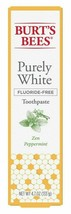 BURTS BEES TOOTHPASTE PURELY WHITE 4.7 Ounce ZEN PEPPERMINT 001 - $7.84