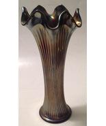 Vintage Fenton Fine Rib Carnival Glass Vase Cobalt Blue Iridescent Swung - $38.56