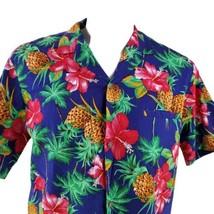 Royal Creations Large Pink Red Hibiscus Pineapples Blue Hawaiian Aloha S... - $34.64