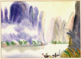 Original Watercolor Vintage Guilin China A Waterway in the Calm of the M... - $72.90