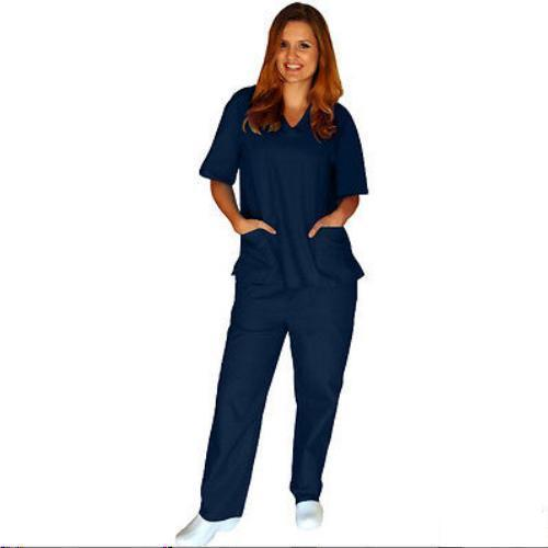 Navy Blue Scrub Set L V Neck Top Drawstring Pants Unisex Natural Uniforms New