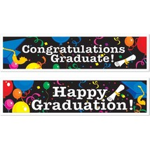 "2 Graduation Banners (assorted designs) Party Accessory Decoration  15"" ... - $8.41"