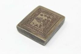Antique Brass Deer Bird Moon Tribal God Engraved Dye Mold Seal Stamp - $60.78