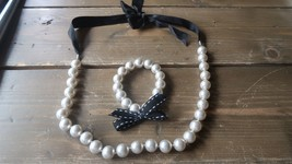 Handmade Faux Pearl Necklace and Bracelet set Adjustable - $9.89