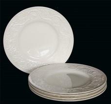 "5 Wedgwood PATRICIAN Ivory Cream Embossed Border 10-1/2"" Dinner Plates England - $49.99"