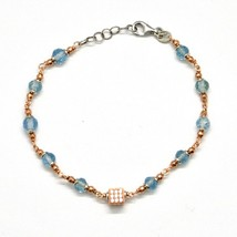 Silver Bracelet 925 Laminated in Rose Gold with Aquamarine and Zircon Cubic image 2