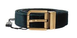 Green Velvet Leather Gold Buckle Belt - $207.50