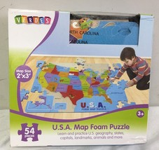 54 Piece USA Foam Map Puzzle 2' by 3' - $21.97