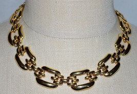 VTG Gold Tone Couture ERWIN PEARL P.E.P. PEP Chain Link Choker Necklace - $74.25