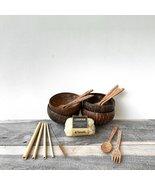 Eco Coconut Bundle Kit I Coconut Bowls | Reusable Cutlery Set | Loofah S... - £36.28 GBP