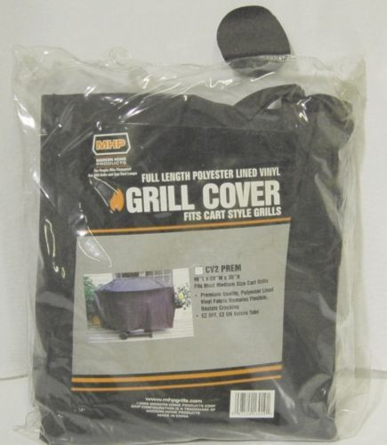 MHP CV2PREM Full Length Polyester Lined Vinyl Grill Cover Color Black