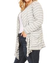 Plus Size Striped Cardigan, Plus Size Cardigans, Gray Striped Cardigan, Womens image 4