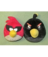 """ANGRY BIRDS 12"""" BLACK BOMBER & RED MASKED SPACE BANDIT PLUSH STUFFED ROV... - $19.80"""