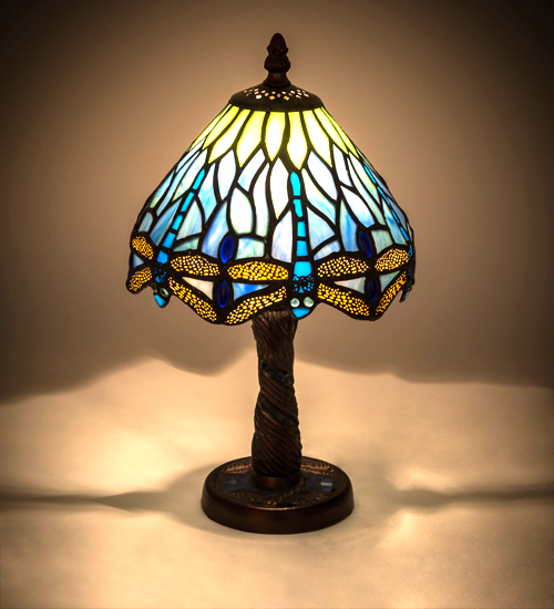 "Primary image for 12""H Tiffany Hanginghead Dragonfly W/Mosaic Base Mini Lamp - 26617"