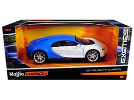 "Bugatti Chiron Blue / White \""Exotics\"" 1/24 Diecast Model Car by Maisto - $35.89"