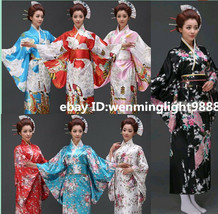Retro Japanese Traditional Yukata Cosplay Peacock Kimono Robe Geisha Dre... - $6.99
