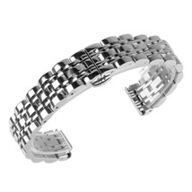 Beauty7 Silver Tone 16mm Polished Stainless Steel Solid Link Watch Band Bracelet - $34.36