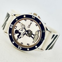Accutime Mickey Mouse MK1205 Black & White Zebra Band Unisex Watch Cute! - $24.09