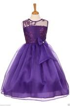 Flower Girl Wedding Pageant Party Organza Tea Length Dress 2 4 6 8 10 12... - $68.00