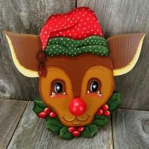 Vintage Rudolf Reindeer Music Box Christmas Tole Painted Decoration Sankyo - $66.99