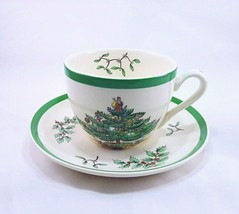 Vintage Spode Christmas Tree S3324 Made in England Teacup And Saucer Set - $16.63