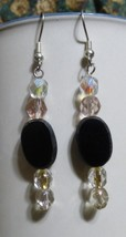 Cheap Elegance Handcrafted Dangle Earrings Black Faceted Sparkly AB Clear - $15.00