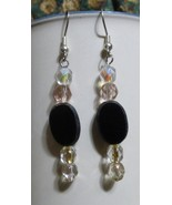 Cheap Elegance Handcrafted Earrings Black Faceted Sparkly AB Clear - $15.00