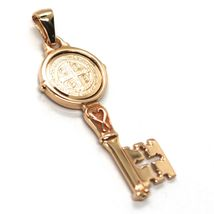 SOLID 18K ROSE GOLD KEY PENDANT, SAINT BENEDICT MEDAL, CROSS, 1.2 INCHES image 3