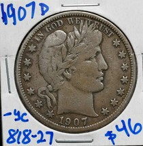 1907D Silver Barber Half Dollar 50¢ Coin Lot# 818-27 image 1