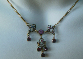 Signed Anne Koplik Designs Purple Rhinestone Chain Necklace - $22.99