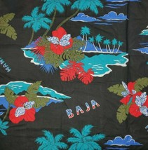"Vintage Baja Tropical Hawaiian Large Print Fabric 46"" x 34"" - $17.82"