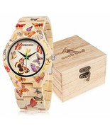Womens Bamboo Watch Butterfly Engraved Handmade Wooden Casual Watches - $95.53