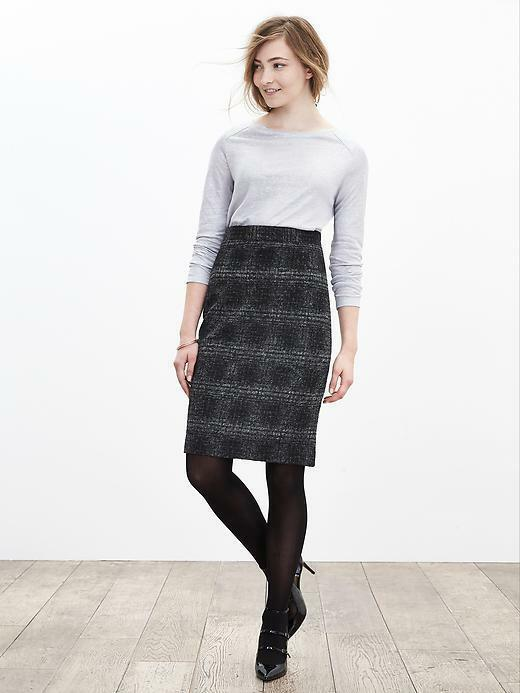 Banana Republic Plaid Pencil Skirt, Gray/black, Wool Blend, Size 12, NWT image 4