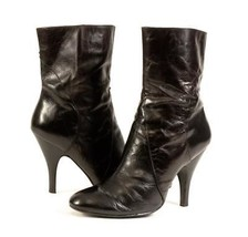 "~NINE WEST~""Zenon"" Black Crinkled Leather Stiletto High Heel Dress Boots, 8 - $29.99"