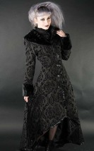 Women's Black Brocade Gothic Victorian Fall Winter Long Steampunk Coat - $167.99