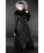 Women's Black Brocade Gothic Victorian Fall Winter Long Steampunk Coat - $167.99