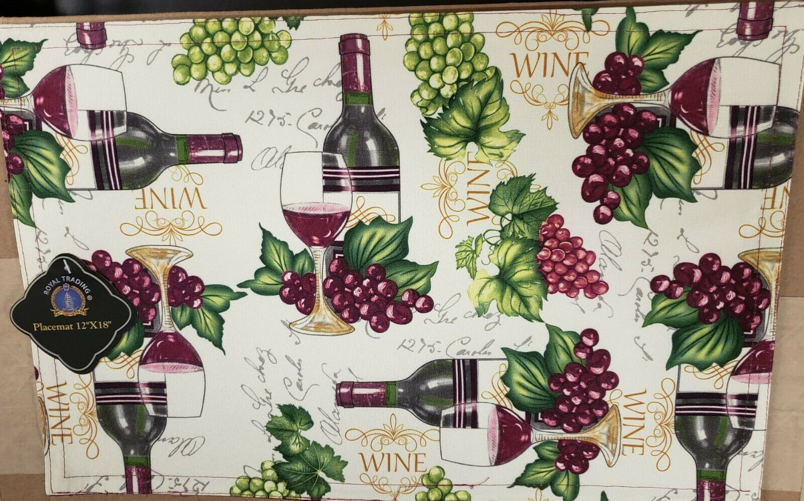 "Primary image for SET OF 2 PRINTED FABRIC PLACEMATS,12x18"",WINE & GRAPES,purple back,Royal Trading"