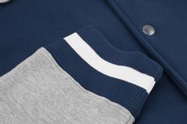 Men's Fleece Varsity Sweatshirt Letterman Sports Raglan Button Up Hoodie Jacket image 13
