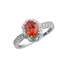 Solid 925 Fine Silver ORANGE ZIRCON Gemstone Solitaire With Accents Ring - $11.34