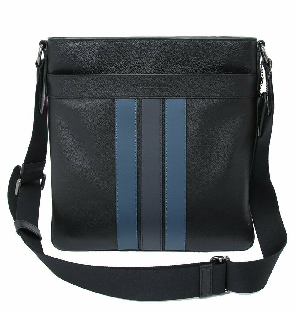 NWT Coach F23216 Men's Charles Varsity Blk Midnight  Dnm Crossbody Bag Navy