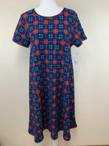 NWT Lularoe M Bold Red Blue Teal Black Plaid Carly Dress Textured Stretchy - $36.99