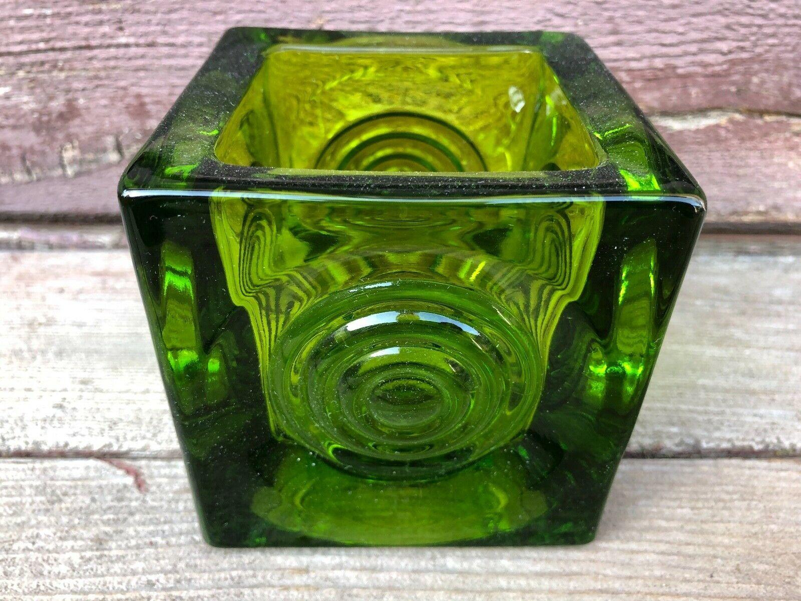 """VTG Green Viking Glass Votive Bullseye Cube Candle Holder 3.5""""  - $59.35"""