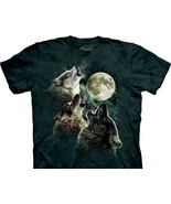 Three Wolf Moon Wolves Howling At The Moon Hand-Dyed Art T-Shirt XXL NEW... - $17.41
