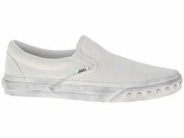 Vans Classic Slip On (Overwashed) Blanc White Womens Casual Studded Shoes - $44.95