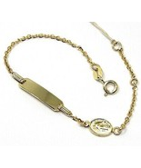 18k yellow gold bracelet 750, Child, plate, miraculous medal chain rolo - $411.74