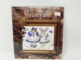 "Heirloom Treasure Stamped Cross Stitch Kit Buttons & Bows 9"" X 12"" Lois ... - $15.83"