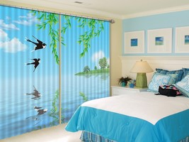 3D Swallow Willow 01 Blockout Photo Curtain Print Curtains Drapes US Lemon - $177.64+