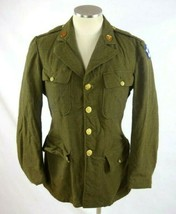 Vintage Green Gaberdine Wool Field Jacket Coat US Army Star of David Pat... - $34.64