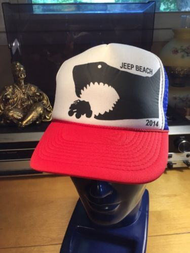 Primary image for Jeep Beach Trucker Hat 2014 Shark Chasing a Jeep Daytona Beach Florida